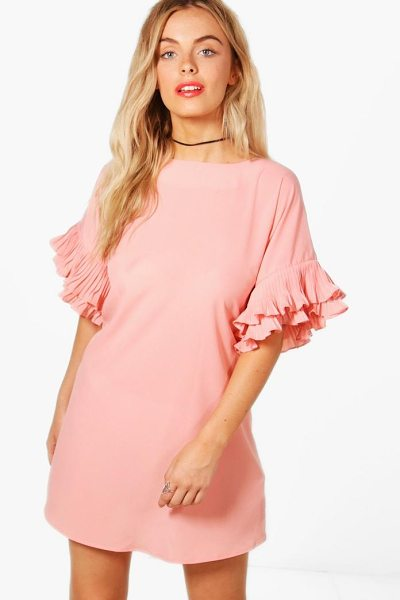 Boohoo Daisy Ruffle Sleeve Shift Dress in blush - Dresses are the most-wanted wardrobe item for...