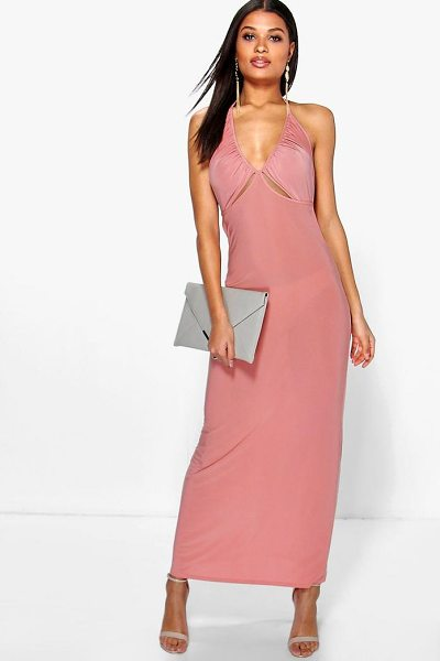 Boohoo Dalia Ruched Halterneck Cut Out Maxi Dress in salmon - Dresses are the most-wanted wardrobe item for...