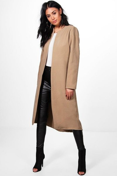 BOOHOO Danielle Collarless Edge To Edge Wool Coat - Wrap up in the latest coats and jackets and get...