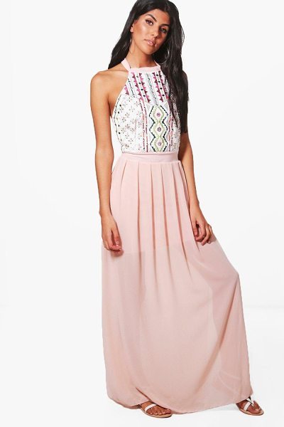 Boohoo Embellished Maxi Dress in blush - Dresses are the most-wanted wardrobe item for...
