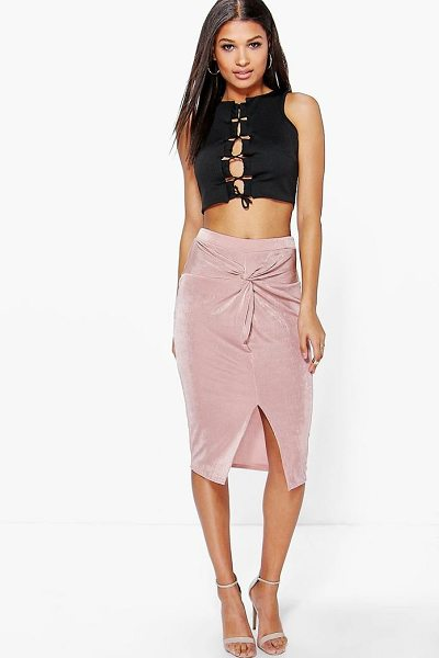 Boohoo Darcey Knot Front Textured Slinky Midi Skirt in nude - Skirts are the statement separate in every wardrobe This...