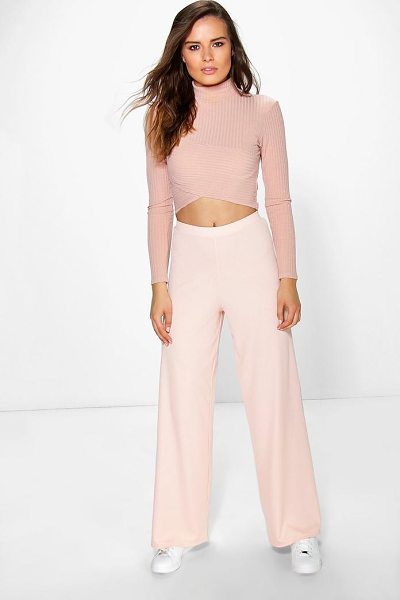 Boohoo Darcey Ribbed Wide Leg Trousers in nude - Trousers are a more sophisticated alternative to...
