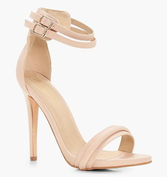 Boohoo Darcy Double Ankle Band 2 Part Heels in nude