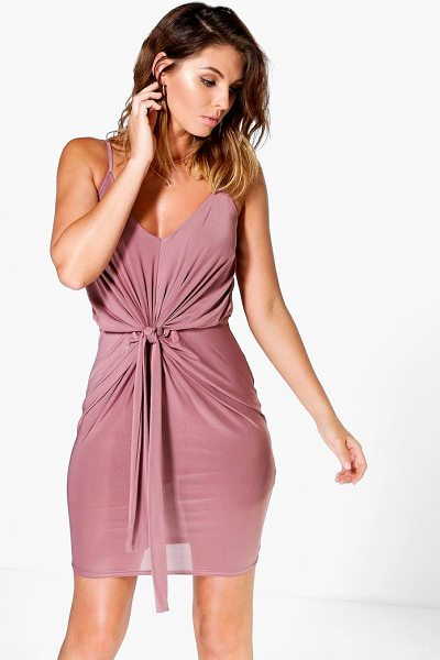 Boohoo Davisa Slinky Knot Detail Bodycon Dress in mauve - Spin your way through cocktail hour in our selection of...