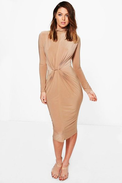 Boohoo Deborah High Neck Ruched Slinky Midi Dress in mink - Dresses are the most-wanted wardrobe item for...