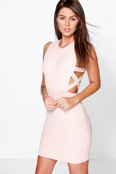 Boohoo Lattice Side Textured Bodycon Dress in nude - Dresses are the most-wanted wardrobe item for...