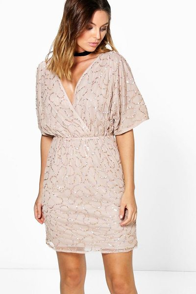 Boohoo Diana Boutique Sequin Wrap Dress in nude - Get dance floor-ready in an entrance-making evening...