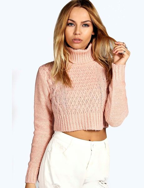 Boohoo Diana Turtle Neck Cable Crop Jumper in pink - Nail new season knitwear in the jumpers and cardigans...