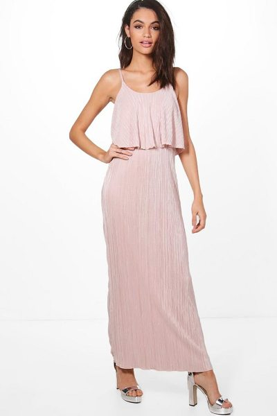 Boohoo Dina Double Layer Crinkle Maxi Dress in antique rose - Take your style to the max with the always gorgeous maxi...