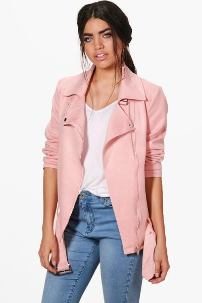 Boohoo Dina Longline Faux Suede Biker Jacket in pink - Wrap up in the latest coats and jackets and get...