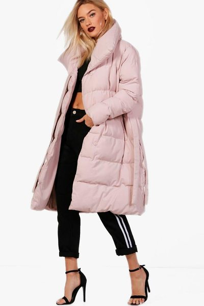 BOOHOO Dionne Longline Padded Tie Front Coat - Wrap up in the latest coats and jackets and get...