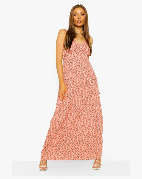 Boohoo Ditsy Floral Maxi Dress in pink