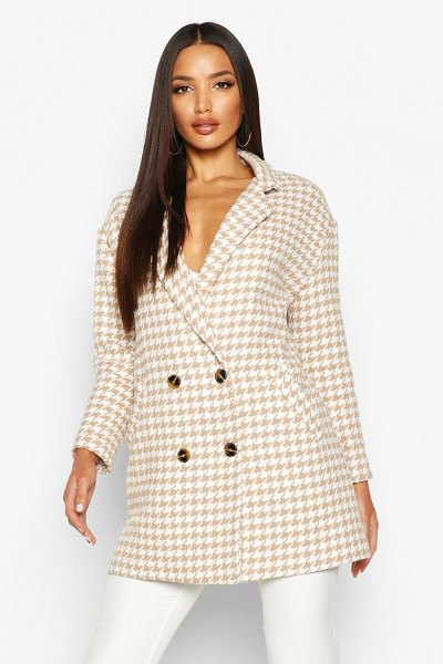 Boohoo Dogtooth Double Breasted Wool Look Coat in stone