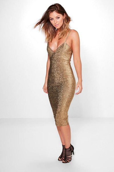 Boohoo Domenica Metallic Plunge Midi Dress in gold - Dresses are the most-wanted wardrobe item for...