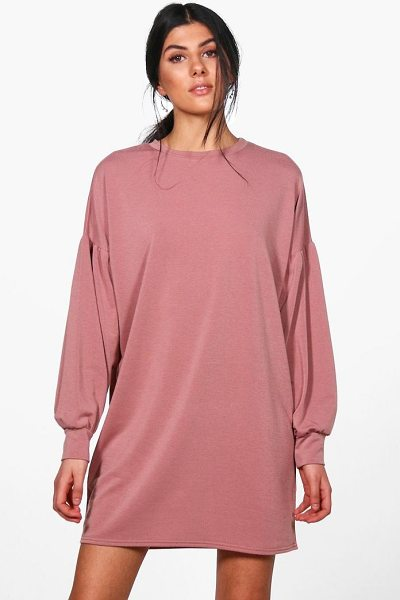 Boohoo Dora Balloon Sleeve Sweat Dress in rose - Dresses are the most-wanted wardrobe item for...