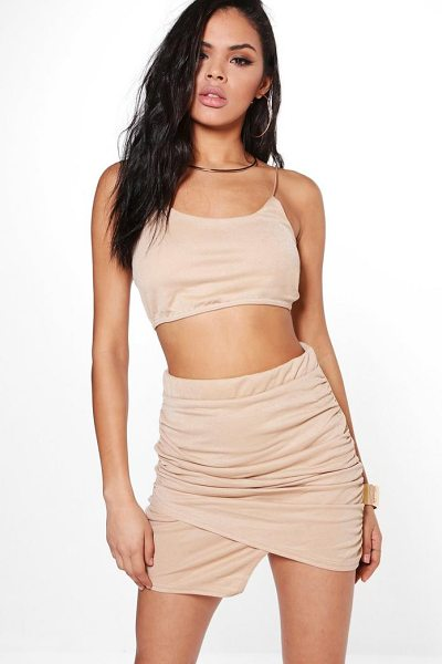 Boohoo Dory Wrap Plunge Mini Skirt & Bralet Co-Ord in tan - Co-ordinates are the quick way to quirky this seasonMake...