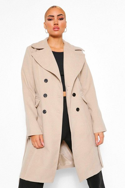 Boohoo Double Breasted Belted Longline Wool Look Coat in stone