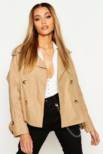 Boohoo Double Breasted Belted Short Trench in stone