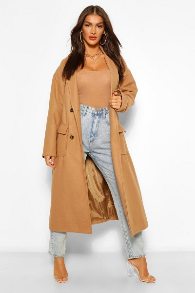 Boohoo Double Breasted Belted Wool Look Coat in camel