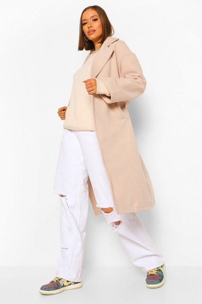 Boohoo Double Breasted Belted Wool Look Coat in stone