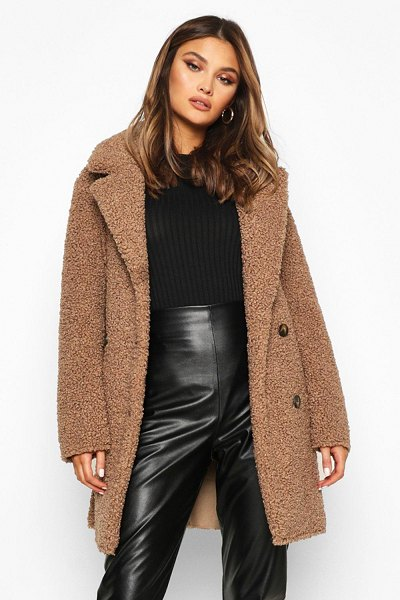 Boohoo Double Breasted Bonded Faux Fur Teddy Coat in stone
