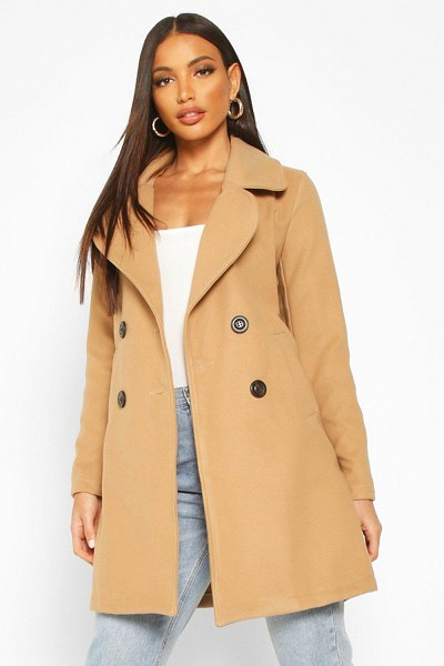 Boohoo Double Breasted Collared Wool Look Coat in camel