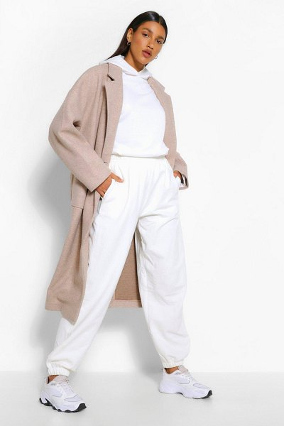Boohoo Double Breasted Longline Wool Look Coat in natural