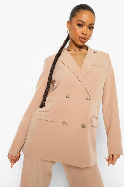Boohoo Double Breasted Oversized Blazer in taupe