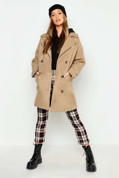 Boohoo Double Breasted Pocket Detail Wool Look Coat in oatmeal