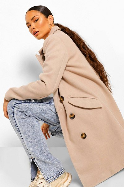 Boohoo Double Breasted Tailored Wool Look Coat in stone