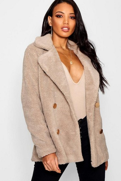 Boohoo Double Breasted Teddy Coat in stone - Wrap up in the latest coats and jackets and get...