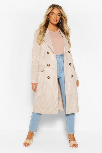 Boohoo Double Breasted Tonal Flannel Wool Look Coat in stone