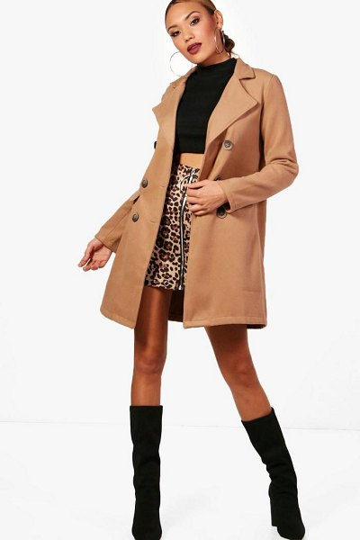 Boohoo Double Breasted Wool Look Coat in camel - Wrap up warm in the latest wool look outerwear. A...