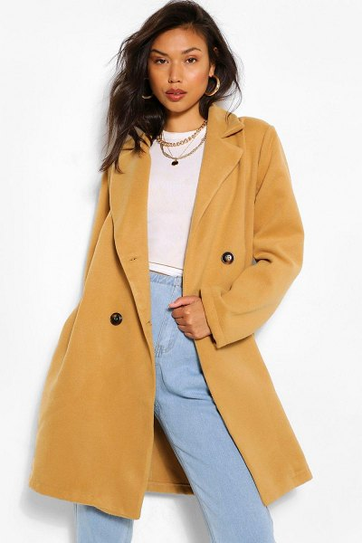 Boohoo Double Breasted Wool Look Coat in camel