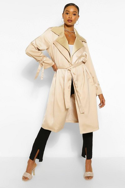 Boohoo Double Layer Oversized Trench Coat in stone