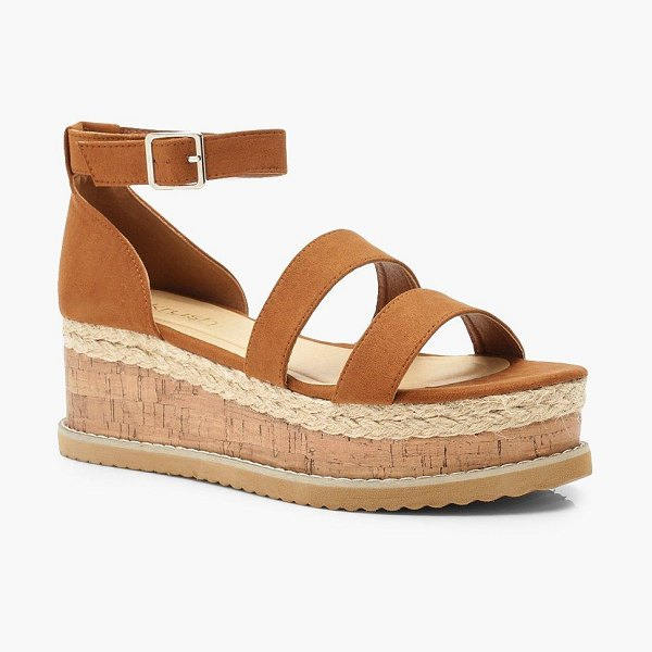 Boohoo Double Strap Flatforms in tan