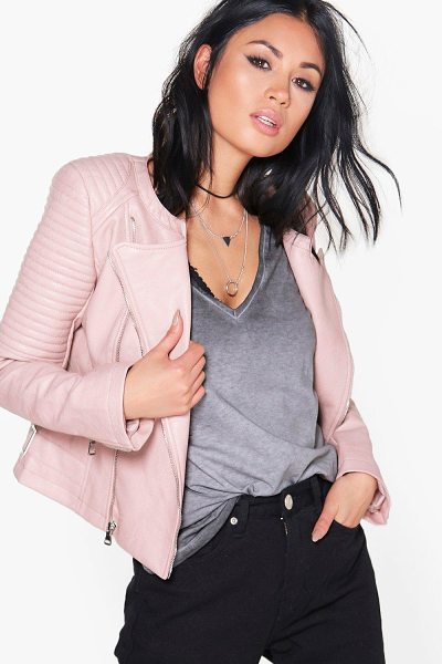 BOOHOO Eleanor Boutique Faux Leather Biker Jacket - Wrap up in the latest coats and jackets and get...