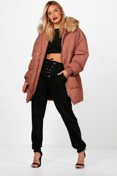 BOOHOO Boutique Padded Coat With Faux Fur Trim - Wrap up in the latest coats and jackets and get...