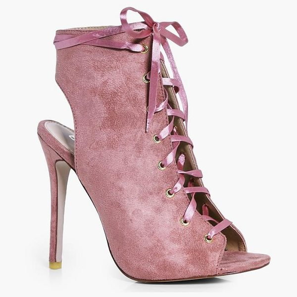 Boohoo Eleanor Ribbon Lace Up Shoe Boot in blush - We'll make sure your shoes keep you one stylish step...