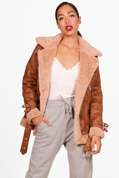 Boohoo Eleanor Suedette Aviator Jacket in camel - Wrap up in the latest coats and jackets and get...