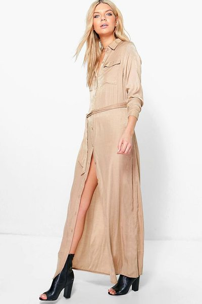 BOOHOO Eleanor Utility Maxi Shirt Dress - Dresses are the most-wanted wardrobe item for...