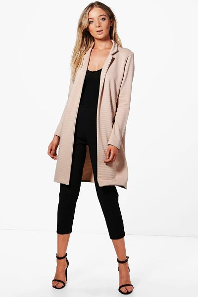 Boohoo Elena Pocket Rib Duster in stone - Wrap up in the latest coats and jackets and get...