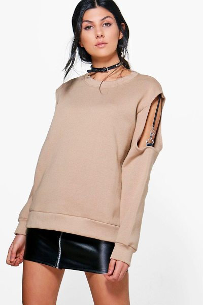 BOOHOO Elena Ribbon Strap Cold Shoulder Sweatshirt - Steal the style top spot in a statement separate from...