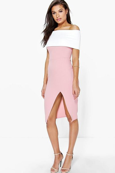 Boohoo Elin Contrast Off The Shoulder Midi Bodycon Dress in peach - Dresses are the most-wanted wardrobe item for...