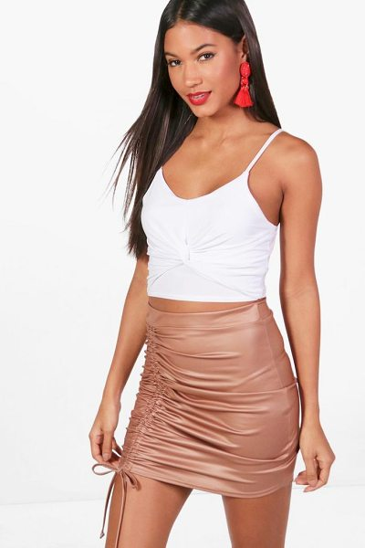 Boohoo Elise Drawcord Leather Look Mini Skirt in tan - Skirts are the statement separate in every wardrobe This...