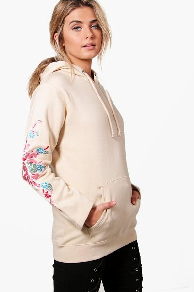 BOOHOO Eliza Embroidered Sleeve Hoody - Steal the style top spot in a statement separate from...
