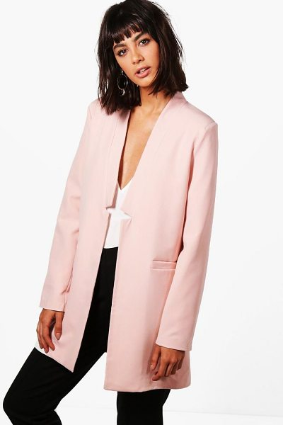 Boohoo Eliza Premium Notch Neck Tailored Lined Blazer in pink - Wrap up in the latest coats and jackets and get...