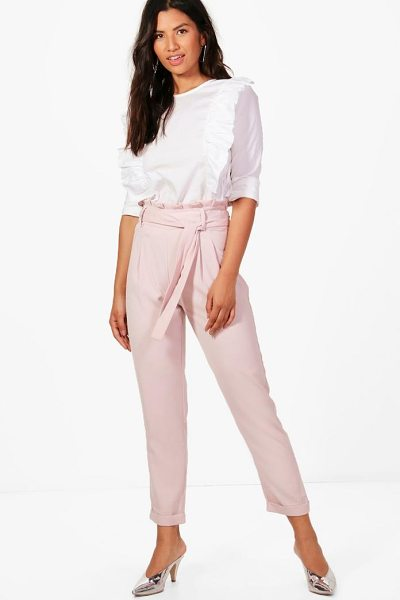 Boohoo Eliza Premium Paperbag Waist Tailored Trouser in pink - Trousers are a more sophisticated alternative to...