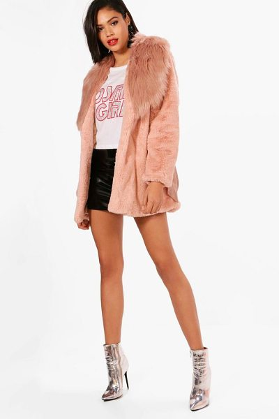 Boohoo Elizabeth Boutique Mix Faux Fur Belted Coat in rose - Wrap up in the latest coats and jackets and get...