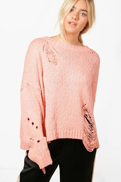 Boohoo Elizabeth Distressed Jumper in mink - Nail new season knitwear in the jumpers and cardigans...